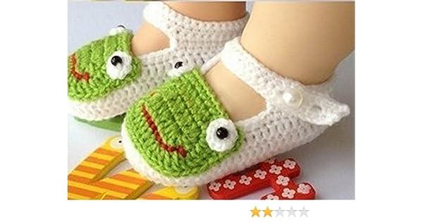 tfxwerws bebé recién nacido calcetines de punto Crochet sandalias zapatos para (blanco) de rana: Amazon.es: Hogar