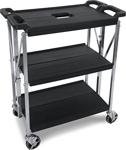 Carlisle SBC152103 Fold 'N Go Collapsible Utility Cart, 350 Pound Capacity, 21'' Length x 15'' Width Shelf, Black by Carlisle