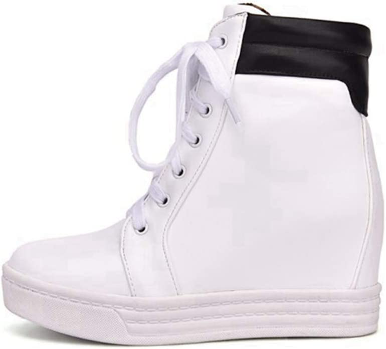 DETAIWIN Womens Fashion Casual Boots Faux Leather Wedges Lace Up Platform Increasing Height High Top Sneaker