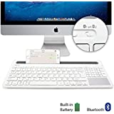 GMYLE [Simple Toggle Device Switch] Multi-Device Bluetooth Keyboard with Docking and Touch Pad for Computers, Tablets and Smartphones - White