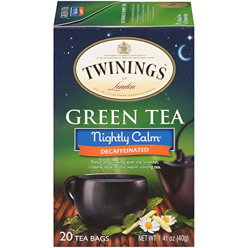 Twinings of London Nightly Calm Green Tea Bags, 20 Count (Pack of 6) (Twinings Caffeine Free Tea)
