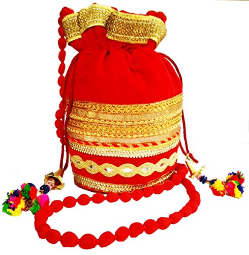 (Purpledip Rich Velvet Potli Bag (Clutch, Drawstring Purse, Evening Handbag) For Women With Heavy Gold Embroidery Work and Colorful Tassels, Red (11483))