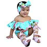 Baby Girls' Clothes,Toddler Baby Girl Off Shoulder Floral T Shirt Tops+Shorts Outfit Clothes Set (12 Months, Blue)