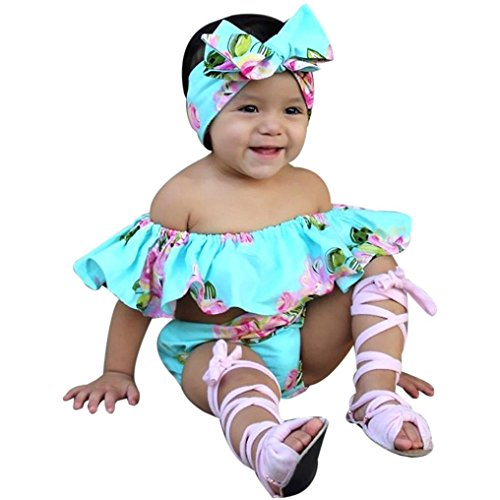 Baby Girls Clothes,Toddler Baby Girl Off Shoulder Floral T Shirt Tops+Shorts Outfit Clothes Set (6 Months, Blue)