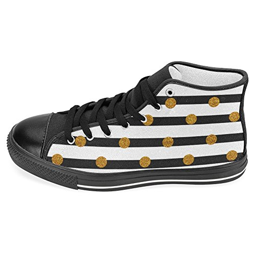 InterestPrint Women's High Top Classic Casual Canvas Fashion Shoes Trainers Sneakers White Black Stripe with Golden Dots Size 12