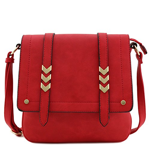 Double Compartment Large Flap Over Crossbody Bag Red