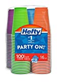 Hefty Party On Plastic Party Cups (Assorted Colors – Amethyst, Neptune Blue, Paprika, and Apple Green – 16 Ounce, 100 Count) Reviews