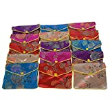 Baitaihem 15 Pack Jewelry Purse Pouch Gift Bags Chinese Silk Style Brocade Embroidered Bag,Multiple Colors(Large)