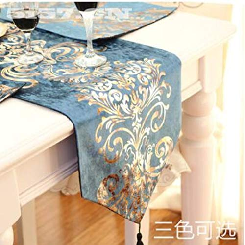 US-ROGEWIN Table Runners Luxury Embroidered Silky Velvet Fabric Washable Tablecloth Embroidered Bed Flag Dinner Mats