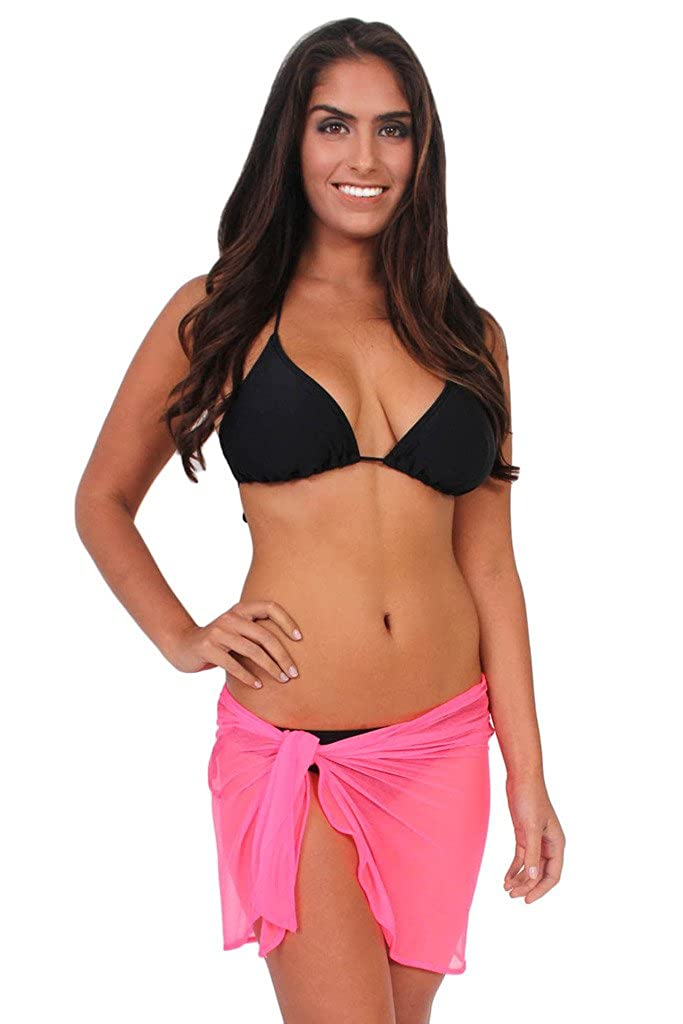 c6ac1f21b5 SHORE TRENDZ ULTRALIGHT MESH Sarong -Cover-up - Wrap - Pareo: Long Length  Black at Amazon Women's Clothing store: