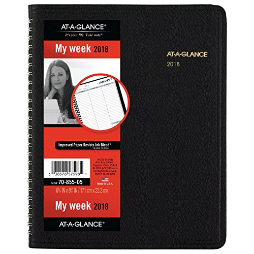 """Discount AT-A-GLANCE Weekly Planner, January 2019 - December 2019, 6-3/4"""" x 8-3/4"""", Open Scheduling, Black (7085505) for cheap"""