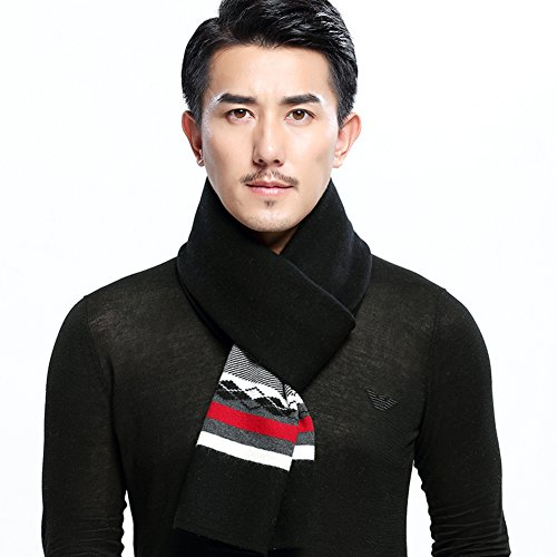 striped rhombic in autumn and winter scarves/Warm long padded bib-B One Size by clothing