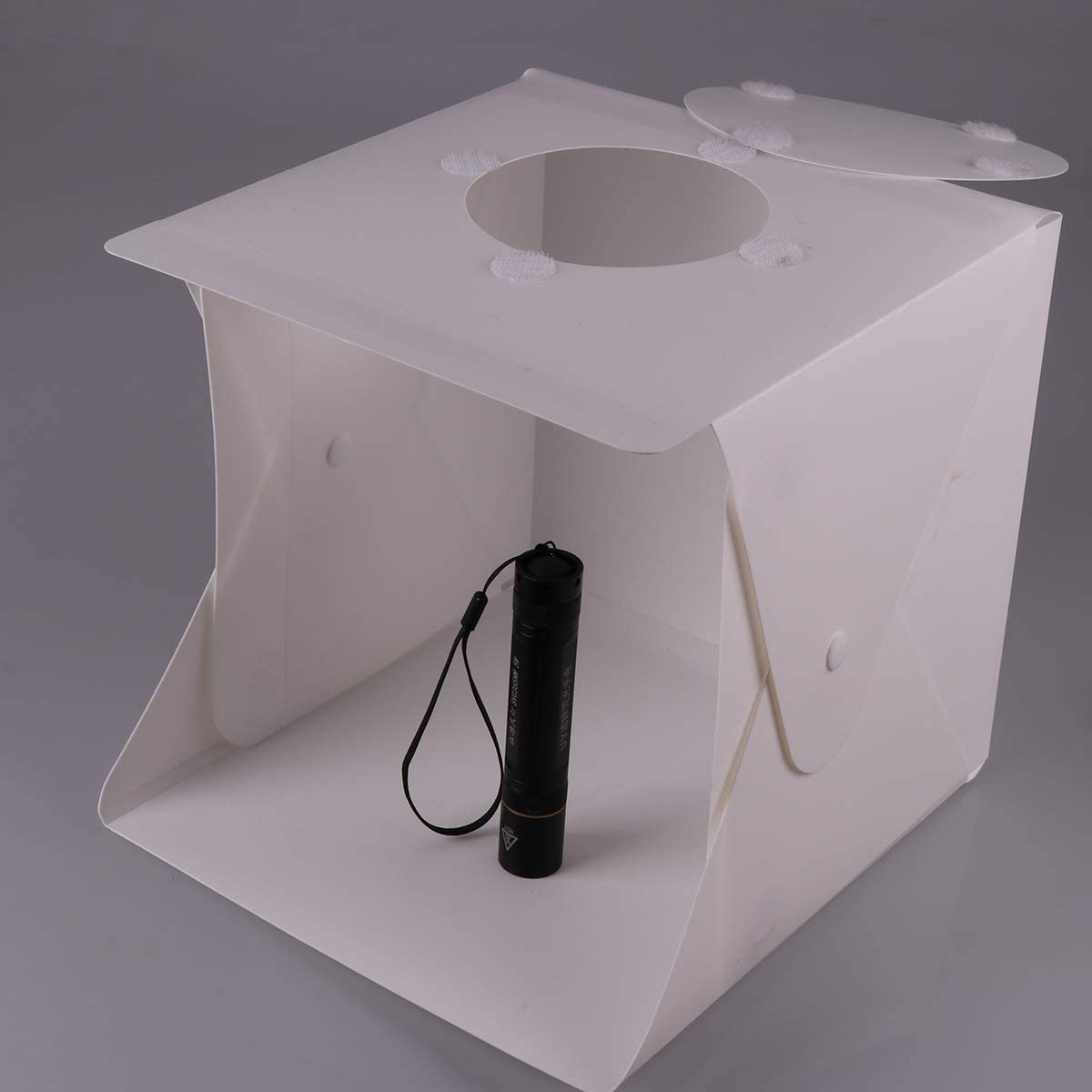 OhhGo Mini Folding Light Box Photography Photo Studio Box with Dual LED Strip Lights 6 Backdrops
