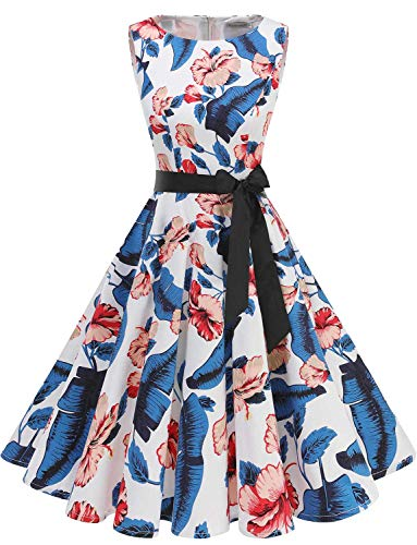 Gardenwed Women's Audrey Hepburn Rockabilly Vintage Dress 1950s Retro Cocktail Swing Party Dress Royal Blue Flower M -