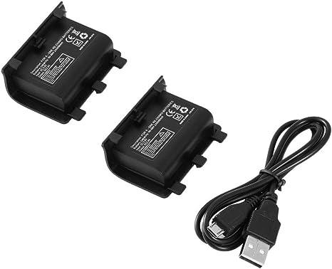 Batería portátil Recargable de Respaldo con baterías 2PCS 2400mAh con Cable USB para el Kit de Carga del Controlador Xbox One - Negro: Amazon.es: Electrónica
