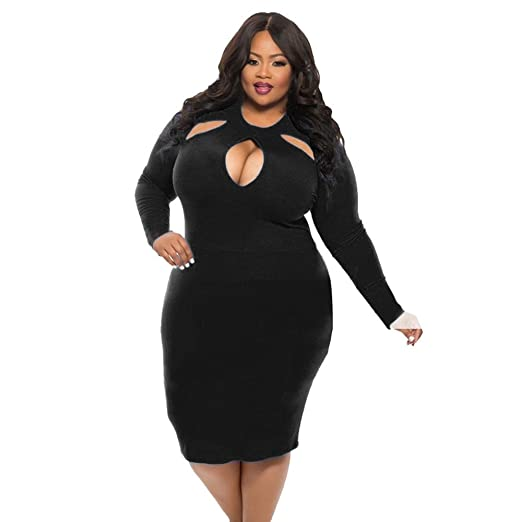 Women Sexy Dresses Plus Size,Womens Long Sleeve O Neck Hollow Midi Dress Cocktail Party
