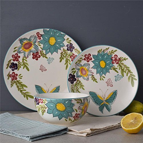 DL Stylish 12-Piece Dinnerware set, Service for 4, Butterfly (Blue Butterfly Tableware)