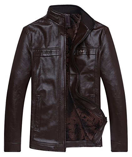 Chouyatou Men's Casual Stand Collar Front Zip Sherpa Lined Leather Jacket (Large, Brown) - Collar Zip Front Leather Jacket