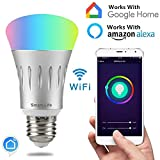 Smart Led Bulb, Work with Amazon Alexa and Google Assistant, Phone Control, Color Tunable 7W A19 Wi-Fi Smart Bulb, 70W (Aluminum Grey)