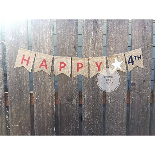 Fourth of July Decorations 4th of July Decor Burlap Banner Wall Decor Wall Sign Wall Hanging, Happy 4th, Independence Day Decor Banner,
