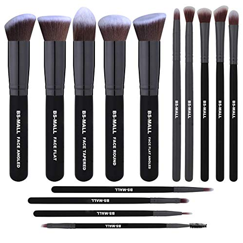 BS-MALL(TM) Premium 14 Pcs Synthetic Foundation Powder Concealers Eye Shadows Makeup Brush Set(Black Black)