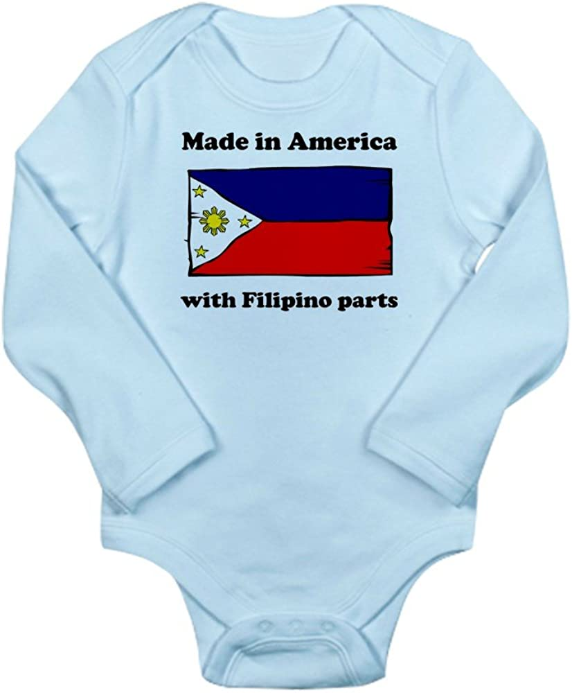CafePress Made in America with Filipino Parts Body Suit Cute Long Sleeve Infant Bodysuit Baby Romper Sky Blue