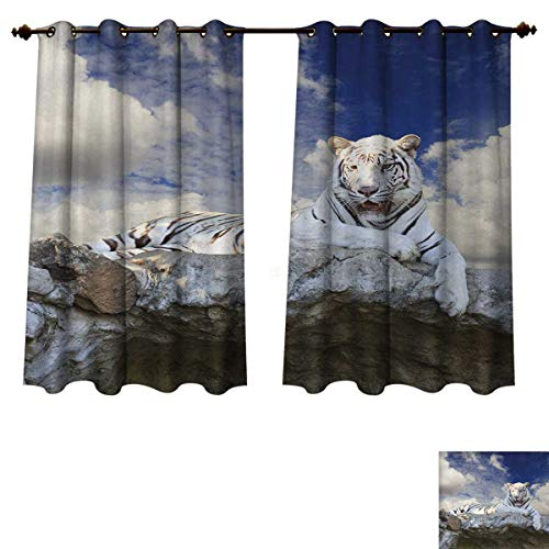 Anzhouqux Tiger Blackout Thermal Curtain Panel Bengal Hunter Surveying What is Beneath It from Top White Large Feline Patterned Drape for Glass Door Eggshell Sky Blue White W63 x L63 inch
