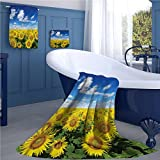 Sunflower Bath towel 839D digital printing set Fresh Sunflowers Field under Clear Sky Clouds Countryside Farm Picture bathroom hand towels set Blue Green Yellow