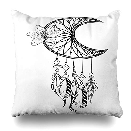(GisRuRu Throw Pillow Cover Circuit Amulet Monochrome Dream Catcher Ornate Ethnic Feathers Aztec Beads Flower Nature American Home Decor Pillowcase Square Size 18 x 18 Inches Zippered Cushion Case)