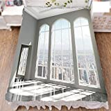 iPrint Bedding Bed Ruffle Skirt 3D Print,City Scenery with Country Home View from Windows,Fashion Personality Customization adds Color to Your Bedroom. by 90.5''x96.5''