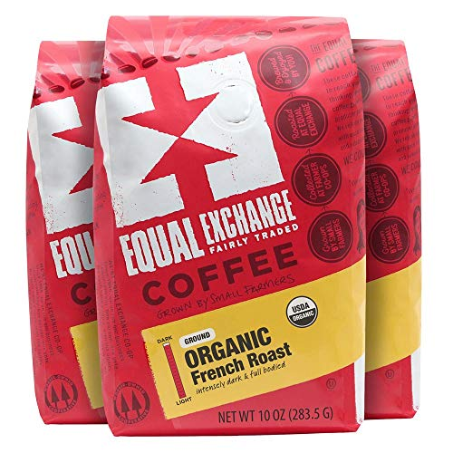 Equal Exchange Organic Coffee, French Roast, Ground Bags, 10 Ounce (Pack of 3)