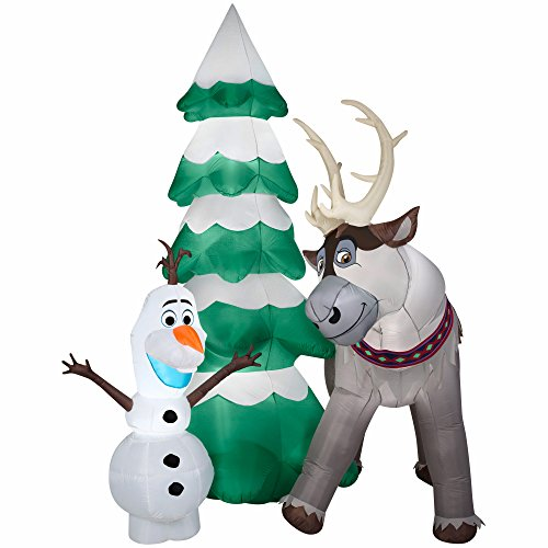 Gemmy Airblown Inflatable Olaf and Sven the Reindeer Standing Next to a Christmas Tree Scene - Frozen Yard Decoration Props, 9-foot Tall
