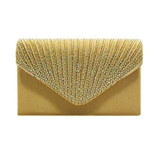 Soiree Jaune Party Epaule Chaine Sac de Handbag Strass Mariage Enveloppe Soiree Pochette ExqwPOfSf