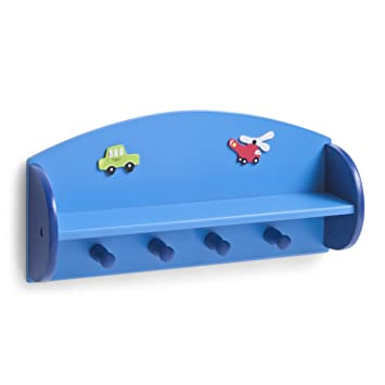 Zeller 13478 Boys - Estante con perchero infantil de tablero DM (48 x 12 x 23,5 cm), color azul