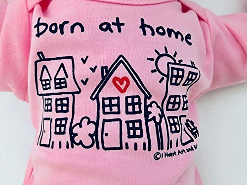 Newborn Born at Home Baby Girl Outfit, Home Birth Baby Girl, Baby Girl Announcement Outfit, Baby Shower Gift for Girl, Long Sleeve, Pink, Up to 12.5 lbs
