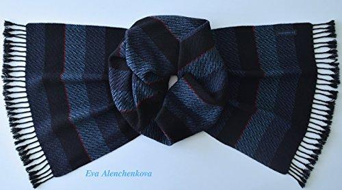 100% Cashmere Blue Black Men's Hand Woven Scarf by Eva Alenchenkova