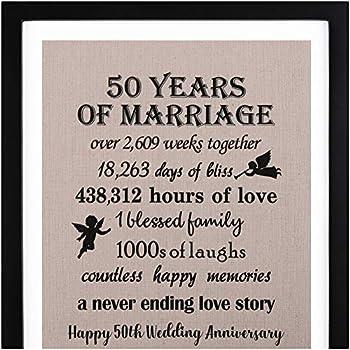 ef1158383bf3e Amazon.com  Happy Anniversary Burlap Wall Art with Frame