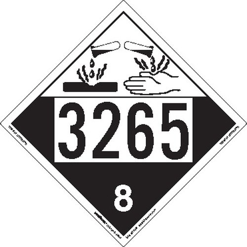 Labelmaster ZEZ43265 UN 3265 Corrosive Hazmat Placard, E-Z Removable Vinyl (Pack of 25)