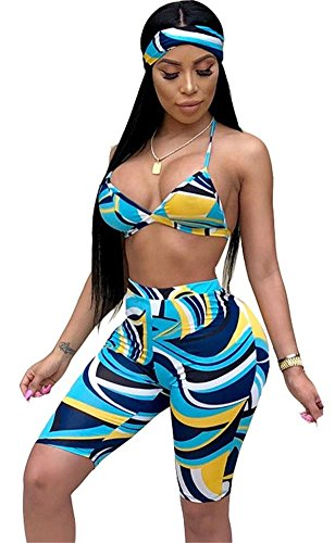Women's Sexy Bra Crop Top and Short Pants Jumpsuits Set 3 Piece Outfits with Headband Scarf