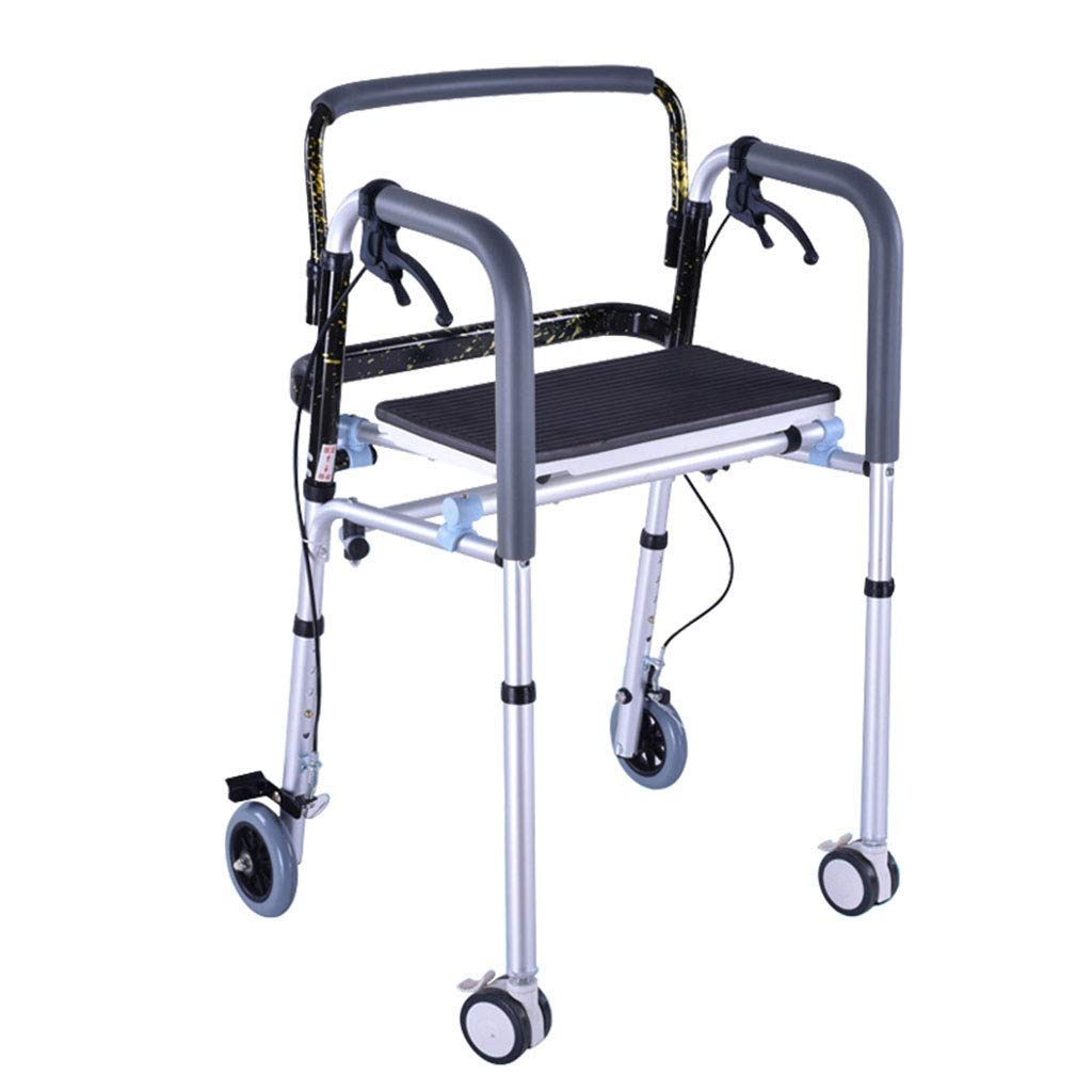 Walking Frames,4 Wheels Lightweight Aluminium Walker with Handbrake Folding Adjustable Height with for Seniors Rollators Seat Auxiliary Walking Safety Walker by YL WALKER