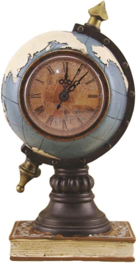 Healifty Antiguo Reloj de Mesa con Globo Terráqueo de Escritorio con Soporte Reloj de Escritorio Decorativo para Adultos Y Niños (Azul Antiguo sin Batería)