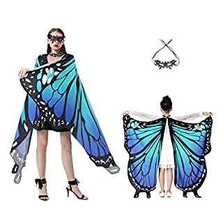 Butterfly Wings for Girls Women Halloween Costume with Mask Cloaks Soft Fabric Shawl Fairy Ladies Nymph Pixie Costume for Girls Dress Up Party Favors Halloween Cosplay Costumes
