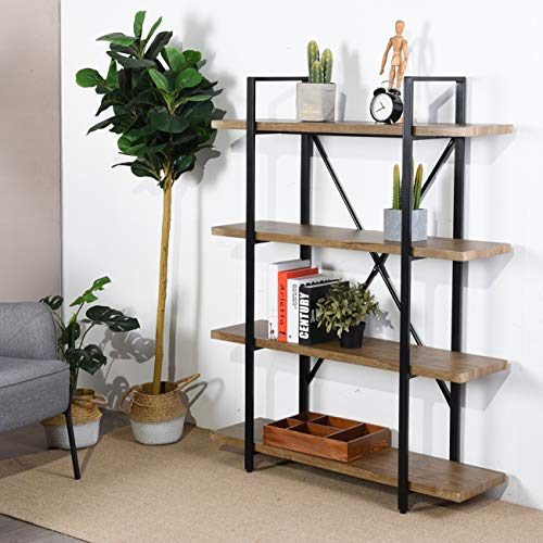 Framodo 4-Shelf Open Vintage Industrial Bookshelf, Rustic Wood and Metal 4-Tier Bookcase for Home Office Organizer and Display Shelves