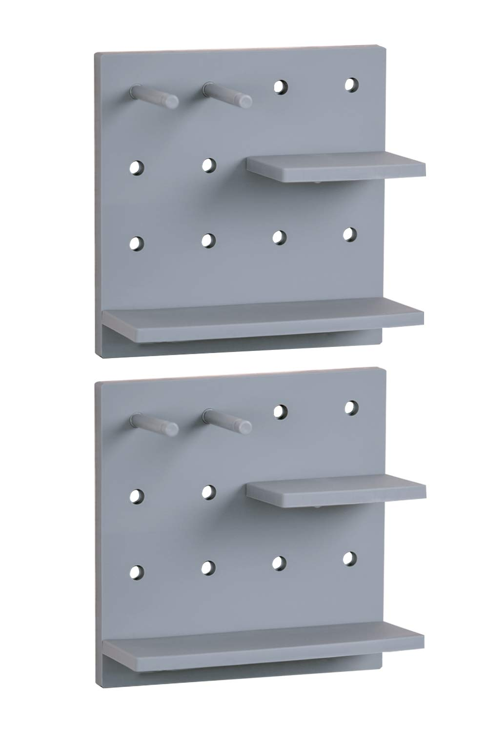Letjolt New Pegboard for Living Room Wall Decor Ideas, Board Storage with Shelf and Hook for Bathroom and Kitchen, Rack for Keys, Cellphone, Pot Plant, Photo Frame, Toothbrush, Soap(Gray Set of 2)