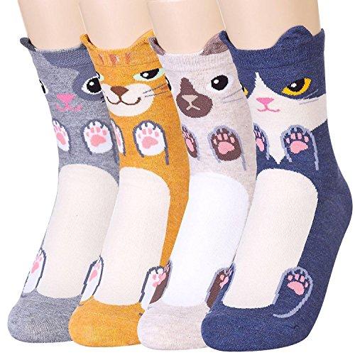 Womens Animal Cat Dog Pattern Casual Socks - Fun Cool Cute Novelty Christmas Gift Idea, Perfect Present for women (4 Kitties)