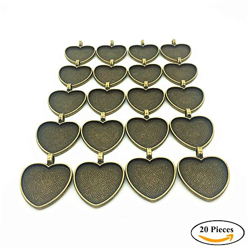 Heart Bezel (IGOGO 20 PCS Heart Pendant Trays Pendant Blanks Cameo Bezel Cabochon Settings 25 mm 1 Inch Antique Bronze Color)