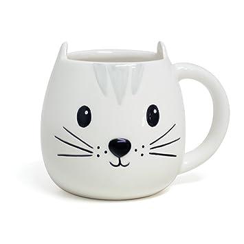 Balvi Mug Kitty Taza en Forma de Cabeza de Gato Capacidad 400ml Apta para lavavajillas y microondas Cerámica: Amazon.es: Hogar