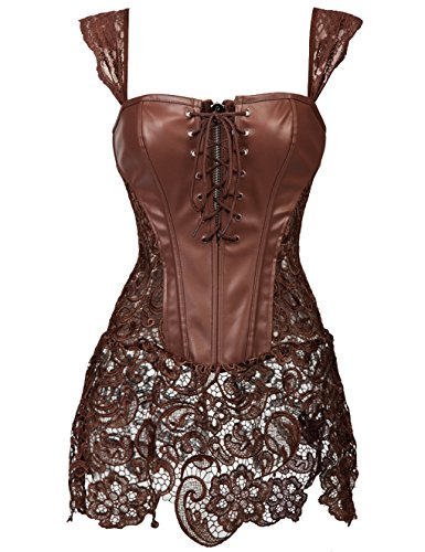 Ecopelle you Beauty Con Donne Sexy Pizzo Gonna Bellezza you Brown Corsetto Di In wqr8SqI