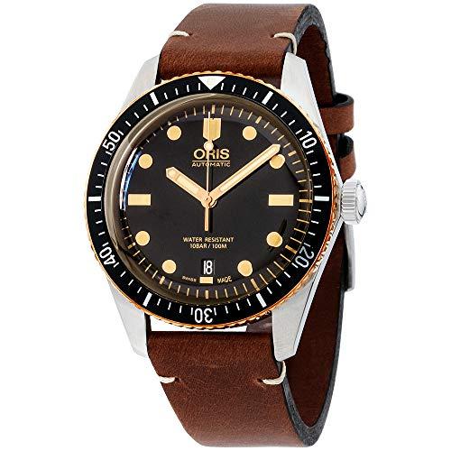 Oris Divers Sixty-Five Black Dial Leather Strap Men's Watch 73377074354LSLITBRN