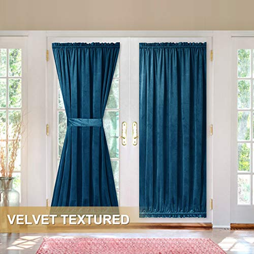 French Door Panel for Sidelight - Interior Decor Velvet Textured Energy Efficient Blackout Patio Door Curtain & Drapery for Privacy, Blue, 52 inches Width by 72 inches Length, 1 Piece with Tieback